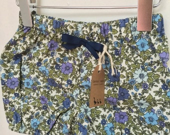 Baby bloomers shorts elastic floral blue green