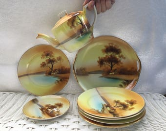 Set of 9 pieces of Noritake China Dish Set - Tree in the Meadow - 1918