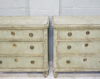 Vintage Pair of Green Painted Swedish Gustavian Style Chest of Drawers