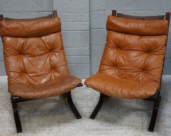 Vintage Pair of Tan Leather & Bentwood Easy Chairs