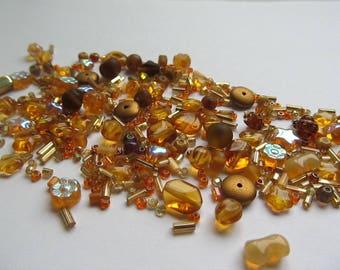 Czech Glass Bead Mix - Variety of Shapes & Sizes - Beautiful Topaz Mix - Autumn's Glory - 20g