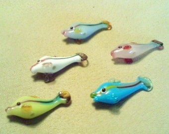 Glass fish beads; beautiful lampwork glass fish beads, approximately 35x13x9mm, choose 1pc/3.80.
