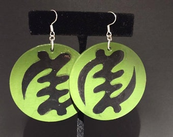 Green and Black Gye Nyame Earrings