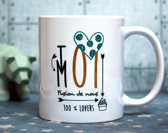 In love gift. Mug 'Fusion of us'. Customizable Cup. Declaration of love. Gift couple. Text and graphics by Piou creations