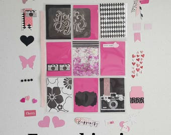 Black, white and pink. Pocket letter inspiration kit. Pen pal kit. Build your stash kit. Journal inspiration kit. Free shipping.
