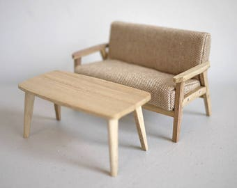 Dollhouse armchair dolls house twin double seat sofa with coffee table living room table 1 12th scale miniature
