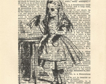 Black and white Alice Drink Me Alice in wonderland vintage print wall art quote book art vintage paper art gift