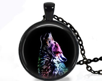Fractal Wolf- Nature Animal Handmade Pendant Necklace
