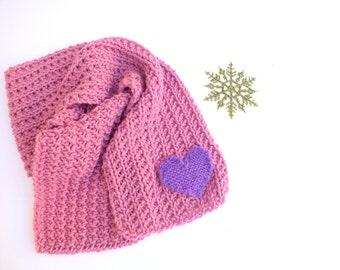 Knit Pink Scarf, Hand Knit pink Scarf,Handmade Scarf, pink girl's scarf,Kids scarf, Short scarf, Knit short Scarf,wool gifts,lavender scarf,