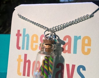Cute Unicorn Horns in Minature Glass Bottle comes in organza gift bag