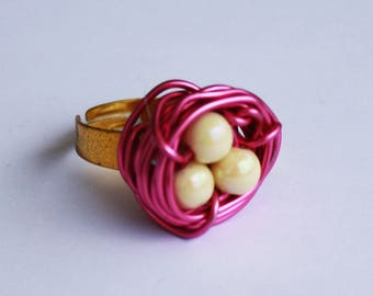 Bird Nest Ring - Cream N' Pink