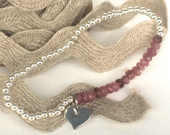 Pink Tourmaline Silver Stretch Bracelet, Handmade