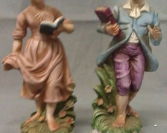 Vintage Boy and Girl with Books very Colorful Figurines