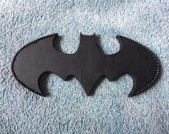 Freestanding Wooden Batman Logo Diamote Framed