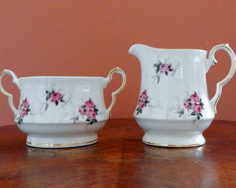 Vintage Princess House Exclusive Hammersley Fine Bone China Creamer and Suger Bowl, Windsor Rose Creamer Set