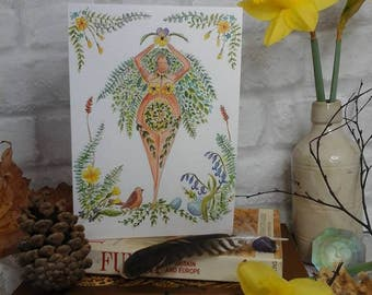 Ostara card,Spring Equinox card,goddess card,pagan card,art card,ostara art,pagan greeting card,wicca greeting card,spring,goddess,art,