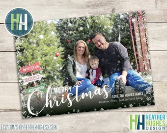 Printable photo Christmas card, Merry Christmas printable family holiday card with photo, personalized, snowflakes, black and white