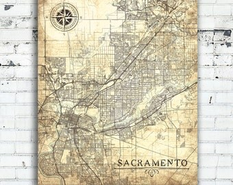 SACRAMENTO CA Canvas Print CA California Vintage map Sacramento Ca City Plan Vintage map Wall Art Ca poster retro design gift home decor map