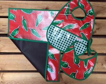 Chalkboard cloth oilcloth bibs set