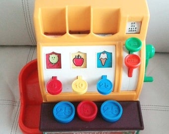 1974 Vintage Fisher Price Cash Register with 3 Original Coins no. 926