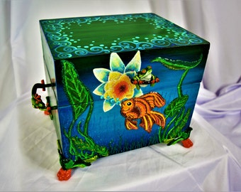 WHIMSICAL SMALL CHEST with Hand Painted Frogs and Gold Fish and Ornate Handles and Feet