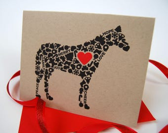 Horse Christmas Card, Horse Holiday Card, Holiday Icons Card, Single Card, Set of 4 or 8