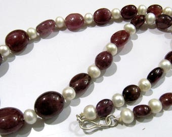 Best Quality Natural Pearl and Ruby Smooth Beads Necklace , Silver Oxidize Finding, Handmade Beaded Necklace 19 inch, Precious Stone Jewelry