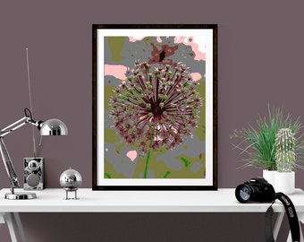 Allium Print, Giclee Flower Print, Allium Seed Head, Floral Print, Abstract Allium Print, Garden Print, Flower Art Print, 9