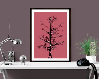 Digital Art Print, Best Friend Print, Unique 1st Wedding Anniversary Gift, Tree of Love Print, Best Friend Gift, Gift for Mum