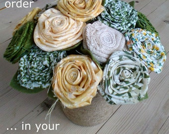 Fabric flower bouquet, fabric flowers, gift for mum, gift for nan, flowers gift, fabric flowers, cotton flowers, 2nd wedding anniversary