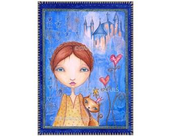 Blue dreams, Mixed media painting, giclee, art print, wall decor, home, energy card, illustration, whimsical art, fairy tale.