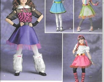 Girls Monster High Costumes, Sizes 7 Thru 14, New Simplicity Pattern 1350