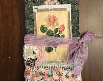 Vintage Rose Fabric Cover Journal