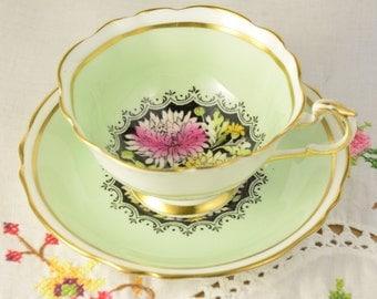 Green Paragon chrysanthemum tea cup and saucer