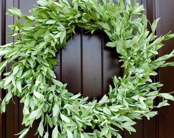 Herb Wreath~Green Leaf Wreath~Spring Wreath~Farmhouse Wreath Front Door Wreath, Green Wreath, Summer Door Wreath, Rustic Wreath
