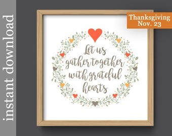 Grateful Hearts Printable Wall Art Family Room Kitchen Dining