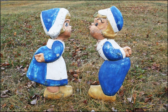 Vintage Concrete Dutch Boy Amp Girl Kissing Statues Pair