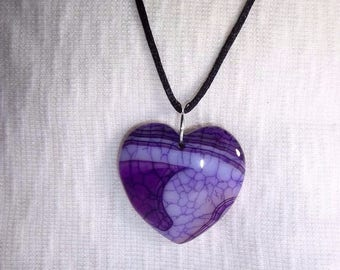 "Purple Heart Dragon Vein Agate 18"" Necklace, Sterling Silver Chain or Black Satin Cord, Creativity and Stress, Banded Agate Holistic Healer"