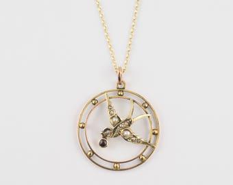 Victorian Antique Swallow Bird Pendant 9Ct Gold - vintage bird pendants, rose gold pendant, vintage jewellery, antique jewelry, flying bird