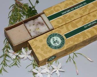 Khan Al Saboun Organic herbal collection of soaps are sold in packet of with the flavor of Lebanon Cedars, rosemary, Rose Petals, Green Tea,