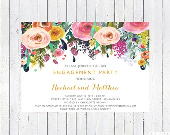 Engagement Party Invitation, Engagement Invitation Printable, Floral, Download, Custom, Personalized, Elegant, Invites, Watercolor, Card