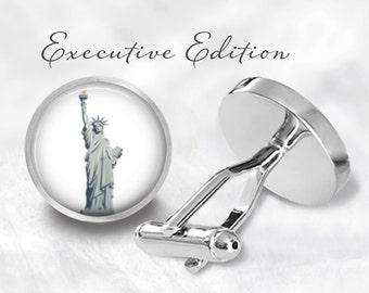 Statue Of Liberty Cufflinks - New York Cufflink - NYC Cuff Links - USA Cufflinks (Pair) Lifetime Guarantee (S0153)