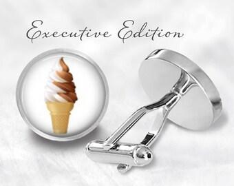 Chocolate Vanilla Swirl Cone Cufflinks - Ice Cream Cone Cufflinks - Ice Cream Cufflink (Pair) Lifetime Guarantee (S0241)