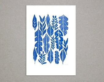 Cobalt Blue Leaf Pattern Linoleum Block Print