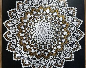 Mandala wall art/ mandala painting/dot work/dotillism/ painting/ 16x20/ meditation/ yoga/spiritual/flower/white/gold/goddess Kaylabreen2017©