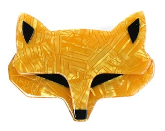 Lea Stein Goupil Fox Head Brooch - Pearly Yellow