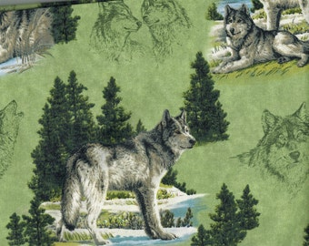 Wolves on Green by Hautmann Wolves Fabric by VIP Cranston, Fabric by the Half Yard