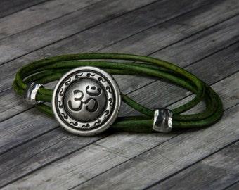 Leather Bracelet - Om Bracelet - Leather Wrap Bracelet - Om Leather Bracelet - Yoga Jewelry  - Yoga Bracelet - Yoga - Om - Buddhist - Hindu