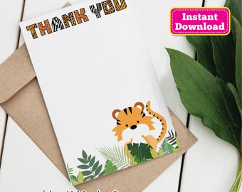 Get Wild Animal Print Thank You Card, Instant Download, Tiger Thank You, Tiger, jungle, jungle animals, vines, You PRINT, Fits A6 Envelopes