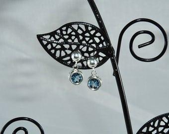 Blue Topaz 6 mm 1.90 TCW Round Cut Sterling Silver Stud Drop Earrings